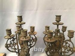 Paire de candélabres chandelier en bronze doré cinq lumières h55 cm XIXe