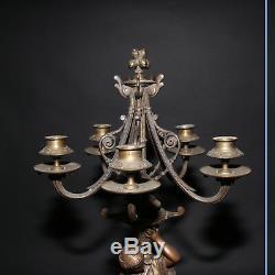 Paire de candélabres en bronze, XIXe