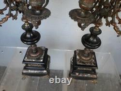 Paire de candelabres ep Napoleon III marbre et bronze 8kg