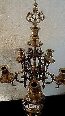 Paire de candélabres époque XIXème bronze doré et marbre rouge griotte 80 cm