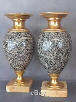 Paire de cassolettes bronze doré ormolu Empire Marbre des Pyrénées