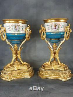 Paire de cassolettes d'époque NapoléonIII bronze doré, ormolu, Sèvres