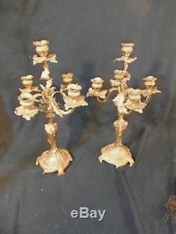 Paire de chandelier bronze dore style louis xv rocaille napoleon III candelabres