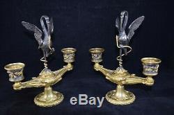 Paire de chandeliers, bouts de table, décor aux hérons, Napoleon III