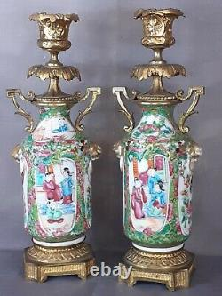 Paire de chandeliers bronze doré et porcelaine de Canton 19ème ormolu Chine