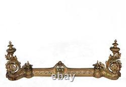 Paire de chenets bronze style Louis XV à décor de feuilles d'acanthes XIXème