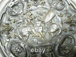 Paire de coupes en bronze sur pied Dragon et Chevaliers 16 cm