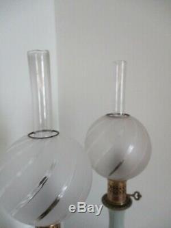 Paire de lampes à huile pétrole bronze porcelaine céladon Chine Napoléon III