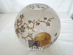 Paire de lampes à pétrole avec globes peints époque 19éme de marque A. Wauthoz