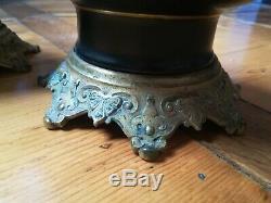 Paire de lampes à pétrole en bronze doré et porcelaine époque Napoléon III