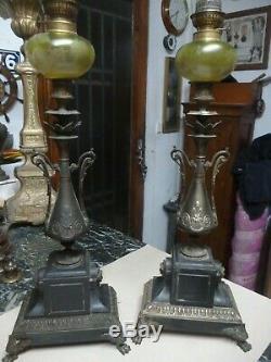 Paire de lampes a pétrole napoleon 3 en bronze et marbre