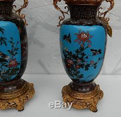 Paire de lampes cloisonnées japon aux oiseaux et dragons 1890