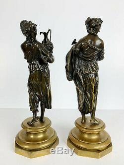 Paire de sujets Femmes à l'Antique en bronze d'époque Napoléon III sur socle