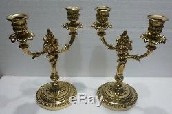 Paire de superbes BOUGEOIRS CHANDELIERS bronze XIXè CANDLESTICKS