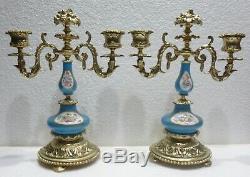 Paire de superbes CHANDELIERS bronze porcelaine de Paris XIXème CANDLESTICKS