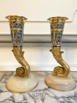 Paire de vases émaillés et bronze doré barbedienne giroux