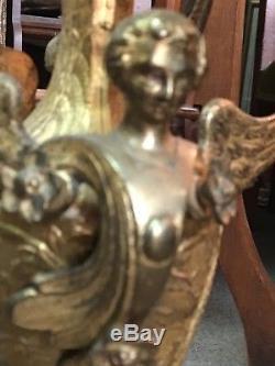 Paire grand chandelier Napoléon III candélabre d'église décor aux anges & fleurs