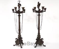 Paire grands candélabres 5 feux bronze angelot lions Napoléon III XIXème