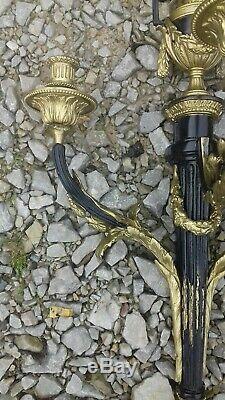 Paires D'appliques 3 Branches Empire Napoléon 3 En Bronze Noirci Et Doré