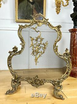 Pare Feu D'époque Napoléon III En Bronze Doré De Style Louis XV