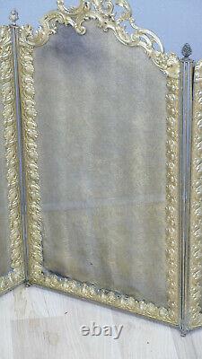 Pare Feu De Cheminée à volets Napoléon III En Bronze Et Laiton, XIX ème