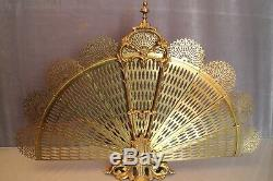 Pare-étincelles pare-feu éventail en bronze style Napoléon III
