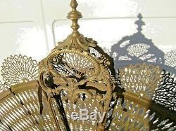 Pare-feu Éventail Napoléon III En Bronze et laiton (queue de paon)