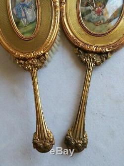 +++ Partie de Nécessaire de toilette vers 1900 miniature bronze doré Luger +++