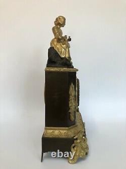 Pendule 19eme Double Patine Napoleon III Romantique Decor Jeune Paysanne C2613