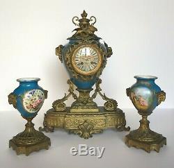Pendule 2 Vases Napoleon III Bronze Porcelaine XIX Eme Vassy 548 Belier H929