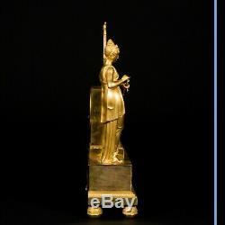 Pendule Allégorie de la Poésie en bronze doré, XIXe