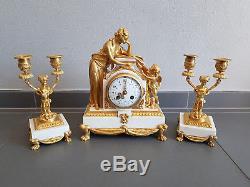 Pendule Bronze Dore Et Marbre Avec Chandeliers Bougeoirs Napoleon III