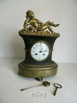 Pendule Bronze Doré Napoléon 3, Signé Fecheux