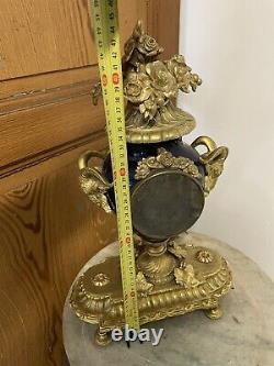Pendule Bronze Doré Porcelaine Bleue de Sèvres XIXeme Napoleon III French Clock