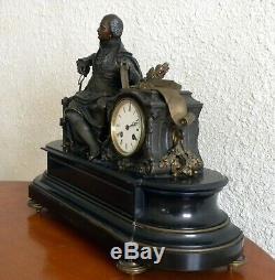 Pendule Bronze Et Marbre Epoque Napoléon III De Pierre Aubert 1853-1912
