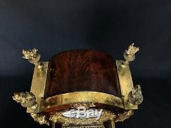 Pendule Cartel Dit Tete De Poupee 19eme Bronze Cisele Placage Acajou C1678