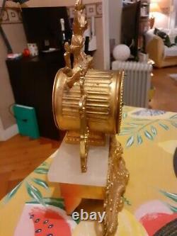 Pendule Dore Regule Bronze Albâtre XIX ème Clock Pendulum Louis XVI Napoléon III