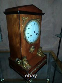 Pendule Empire Sphinx bronze bois de rose Oudin Breguet XVIII XIX ème mvt à fil