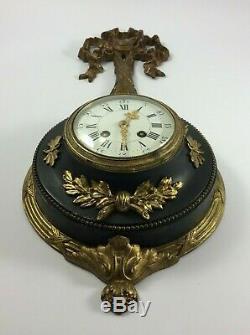Pendule En Bronze Cartel Style Louis XVI Napoleon III 1846 37 Cadran Email H768