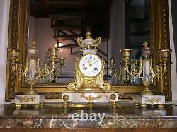 Pendule Garniture Bronze Napoleon III Complete Fonctionne, Ht 29