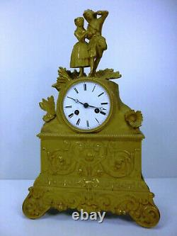 Pendule Horloge Bronze Dore Ciselure Cadran Email 19 Eme Romantique