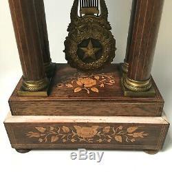 Pendule Horloge Napoleon III Marqueterie Bronze XIX Siecle Antique Clock