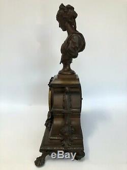 Pendule Japy Freres Napoleon III Buste De Femme Bouret Patine Chocolatee C2561