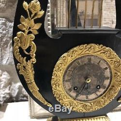 Pendule Lyre Empire Portique Napoléon III Bois Noirci French Clock Ancien Bronze