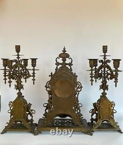 Pendule Napoleon III 19eme Bronze Garniture Candelabres Neogothique C2724