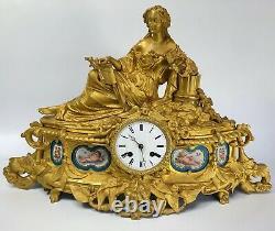 Pendule Napoleon III 19eme Porcelaine Paris Femme Antique Schmoll Freres C2646