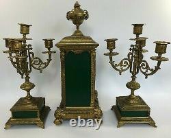 Pendule Napoleon III Garniture Cheminee Bronze Style Louis XV 19eme Xg Z407