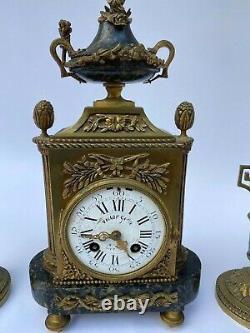 Pendule Napoleon III Victor Gelle Japy Style Louis XVI Bronze Bougeoires M198