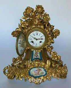 Pendule Napoleon III XIX Eme Plaque Porcelaine De Paris Sevres Email H3348