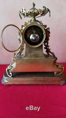 Pendule Napoléon III bronze doré et porcelaine